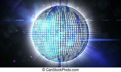 Shiny blue disco ball spinning - Digital animation of Shiny...