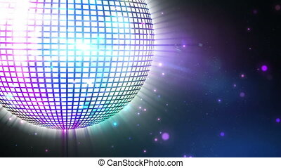 Shiny purple disco ball spinning - Digital animation of...
