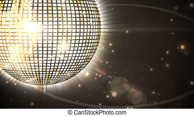 Shiny gold disco ball spinning - Digital animation of Shiny...