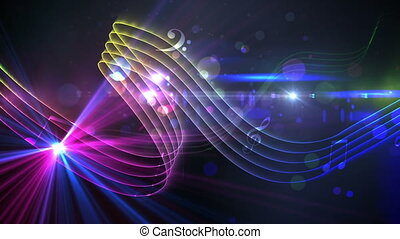 Colourful abstract music design - Digital animation of...
