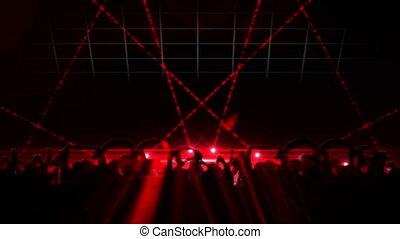 Nightclub with red laser show - Digital animation of...