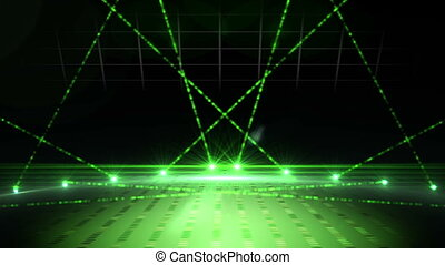 Green laser show - Digital animation of Green laser show on...