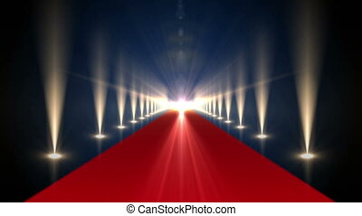 Long red carpet with spotlights - Digital animation of Long...