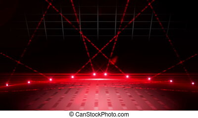 Red laser show on black background