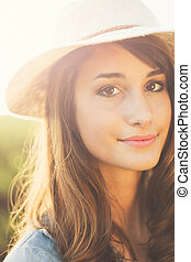 Portrait of Beautiful Young Woman - Warm Sunny Portrait of...