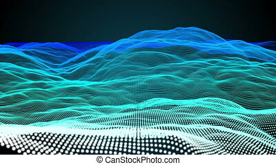 Blue pixel landscape - Digital animation of Blue pixel...