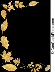 Golden Abstract Leaf Border - Golden leaf selection forming...