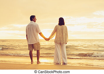 Retired Couple on the Beach - Romantic Retired Couple...