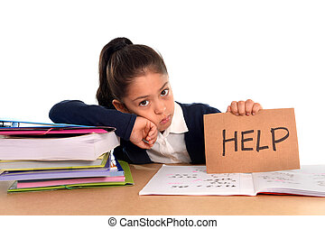 sweet little girl bored under stress asking for help in hate...