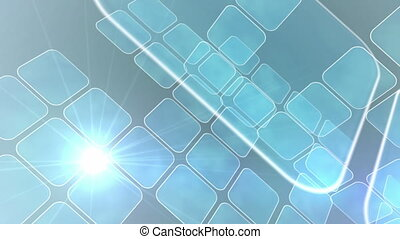 Blue abstract tiles on light