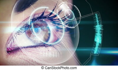 Eyes looking at holographic - Digital animation of Eyes...