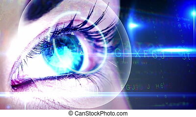 Eye looking at holographic - Digital animation of Eye...