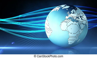 Blue earth graphic spinning - Digital animation of Blue...
