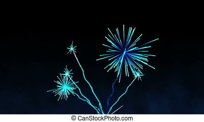 Blue fireworks exploding - Digital animation of Blue...