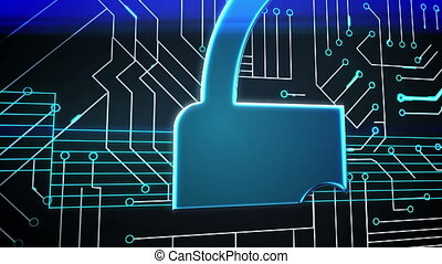 Blue lock on circuit board design - Digital animation of...