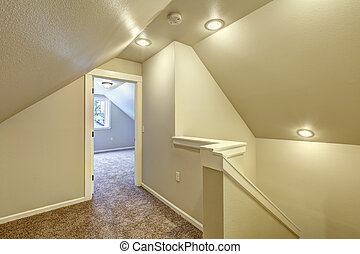 Upstairs hallway with vaulted ceiling - Ivory upstairs...