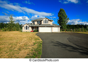 House exterior with two car garage and driveway