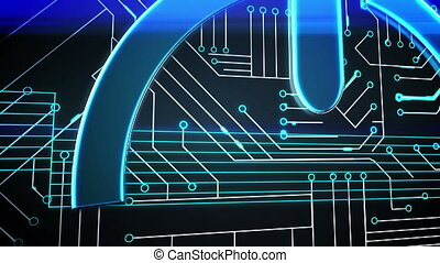 Power sign on circuit board design - Digital animation of...