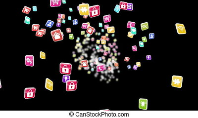 Colourful app icon tiles - Digital animation of Colourful...