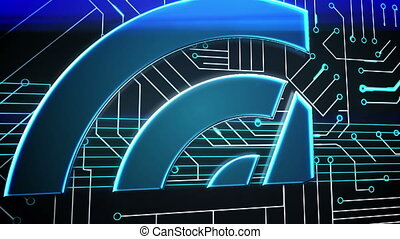 Blue target on circuit board design - Digital animation of...