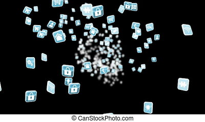 Blue app icon tiles on black - Digital animation of Blue app...