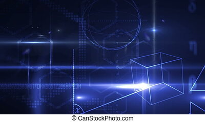 Math equations and shapes on blue - Digital animation of...
