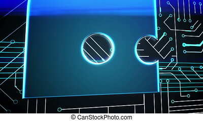 Blue speech bubble on circuit board - Digital animation of...