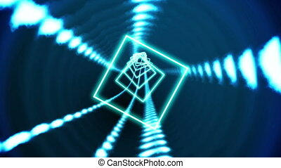 Square vortex design on black - Digital animation of Square...