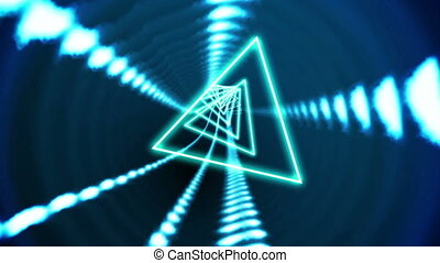 Triangle vortex design on black - Digital animation of...