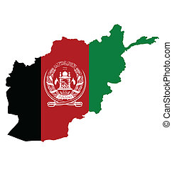Afghanistan Map Flag - Flag of Islamic Republic of...