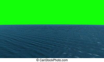 Still blue ocean under green screen - Digital animation of...