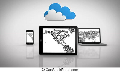 Media devices showing cog map - Digital animation of Media...