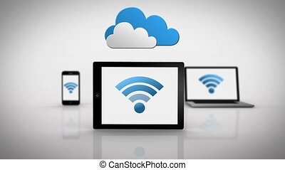 Media devices showing wifi symbol - Digital animation of...