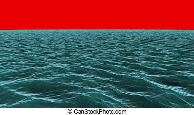 Still blue ocean under red screen - Digital animation of...