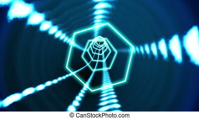 Hexagon blue vortex design on black - Digital animation of...