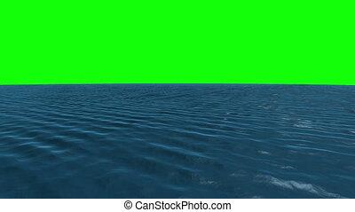 Still blue ocean under green screen