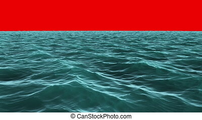 Choppy blue ocean under red screen - Digital animation of...