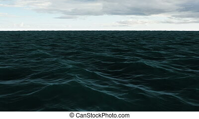 Choppy blue ocean under cloudy sky - Digital animation of...