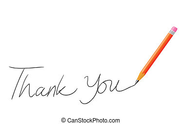 Thank You - Vector illustration of pencil writing thank you...