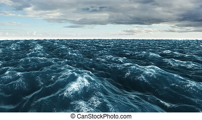Stormy blue ocean under dark sky - Digital animation of...