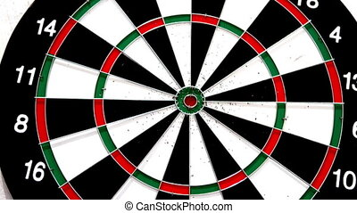 Green dart hitting the bullseye on white background in slow...