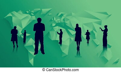 Black silhouettes of business people on green world map...