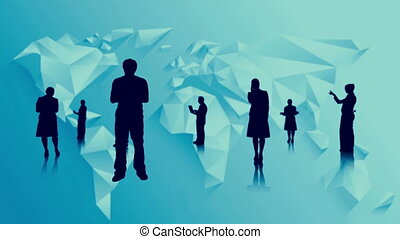 Black silhouettes of business people on blue world map...