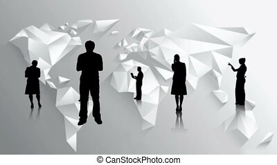 Black silhouettes of business people on white world map...