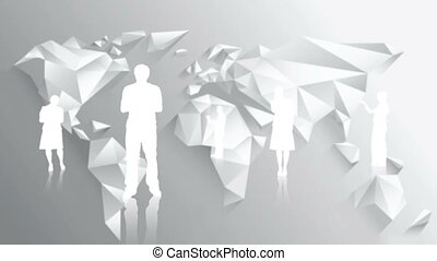 White silhouettes of business people on white world map...