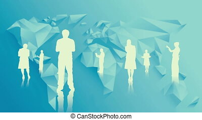 White silhouettes of business people on blue world map...