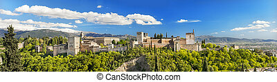 Panorama of the famous Alhambra palace in Granada,...