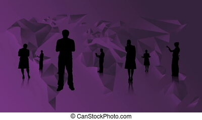 Black silhouettes of business people on purple world map...