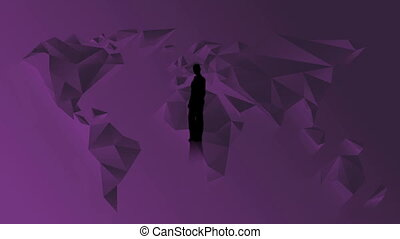 Silhouette of businesswoman presenting chroma key on purple...