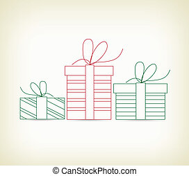 set of christmas gifts sketches for design